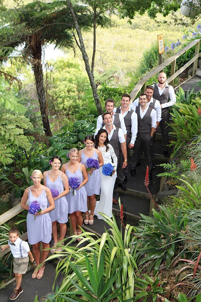 We made short Cross Over Dresses for Victoria and Corey's Wedding in Lilac Viscose.