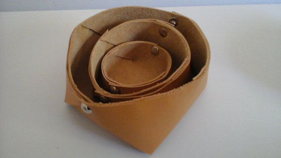 Tan Leather Nesting Baskets by JacquiInc on Etsy