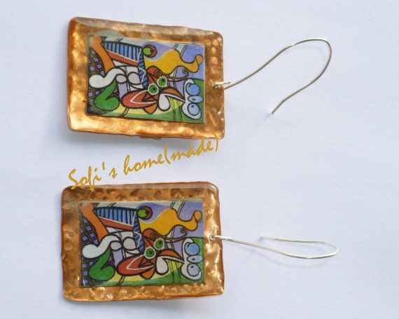 """Handmade copper and fused glass earrings with an image of the """"Yellow Jug"""" (Pablo Picasso)"""