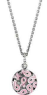 PENDANT S/S WITH PINK ENAMEL RIBBON DISC WITH OXIDISED 80CM CHAIN - Jons Family Jewellers