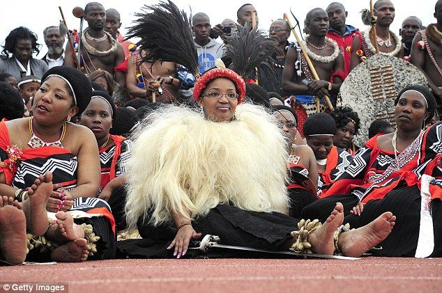 Opulent: Another scene from Mafu's wedding to the king. She was selected as his bride at the age of 18 while participating in the 2003 Swazi reed dance