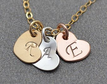 Check out Three Heart Necklace, 3 Initial Heart Necklace, Gold Rose Gold Sterling Silver Heart Necklace, Three Tone Hearts, Mixed Metal Necklace on malizbijoux