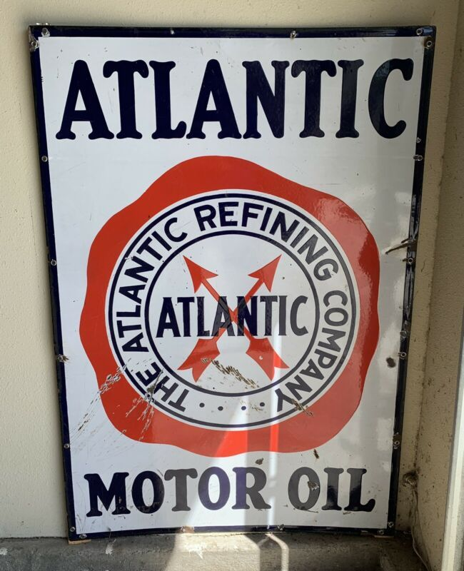 Aged Atlantic Gas Station Pump Reproduction Metal Sign 12x18