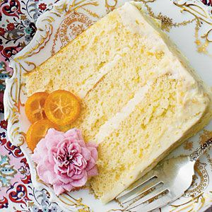 Lemon-Orange Chiffon Cake | Serve this decadent spring dessert at your next ladies' luncheon and wow the crowd with edible flowers