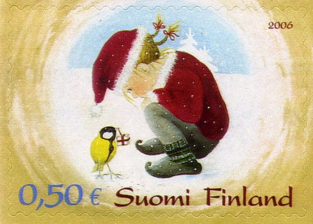 Joulupostimerkki 2006 1/2 - Tyttö ja talitintti