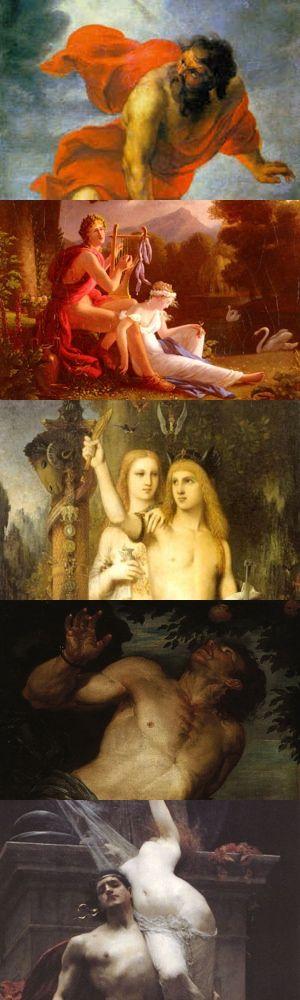 Cinque epici ribelli della mitologia greca: Prometeo, Orfeo, Giasone, Tantalo e Cassandra.