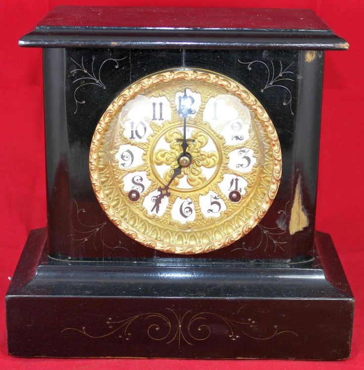 Vintage ingraham black wood #mantel #clock - #mantle - vintage - antique,  View more on the LINK: http://www.zeppy.io/product/gb/2/371702020455/