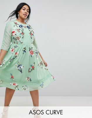 ASOS CURVE PREMIUM Midi Skater Dress with Floral Embroidery  2ea08d039