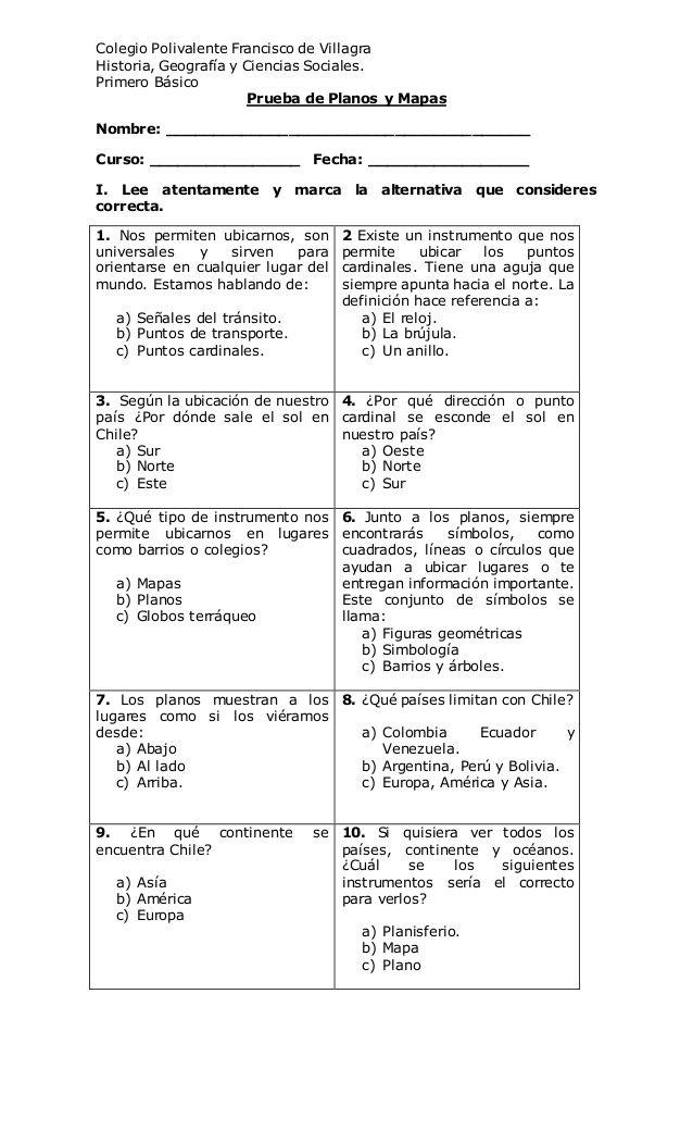 Colegio Polivalente Francisco de Villagra  Historia, Geografía y Ciencias Sociales.  Primero Básico  Prueba de Planos y Mapas...