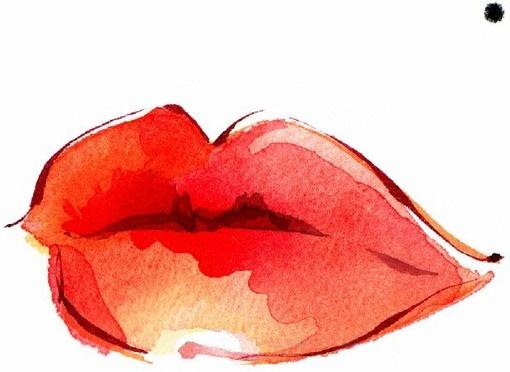 lips: A Kiss, Watercolor Paintings, Watercolors, Beautiful Mark, Illustration, Red Lips, Watercolor Lips, Water Colors, Lips Art