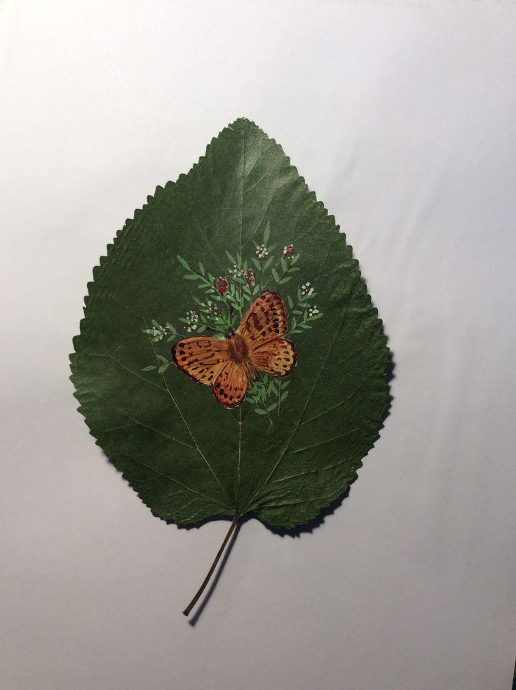 Dut yaprağı üzerine akrilik boyama/GÜLBİN ATABEK
