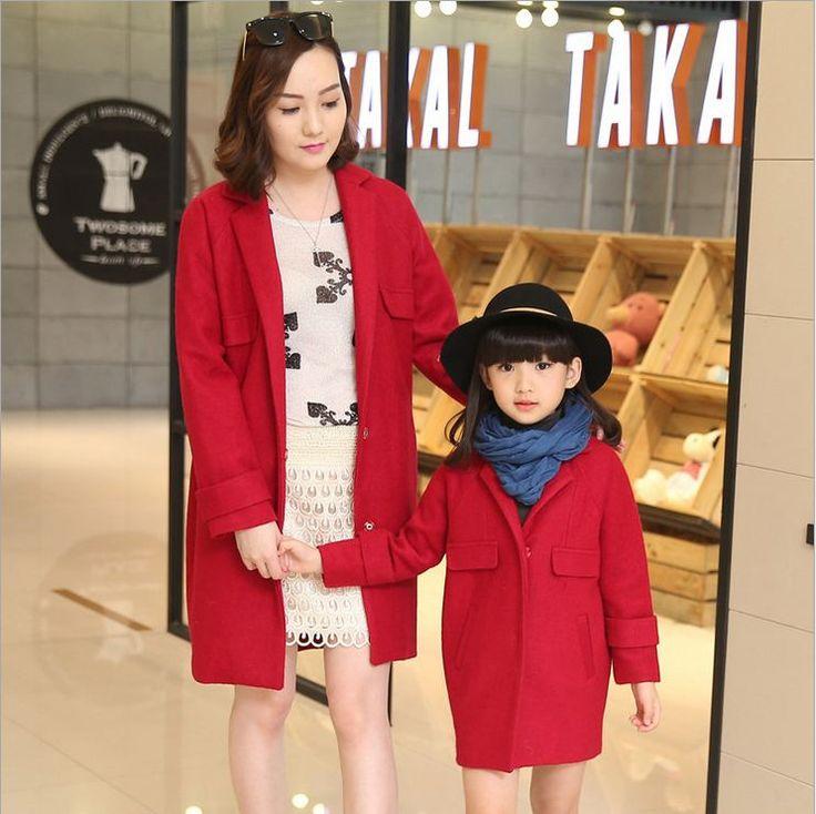 Семьи соответствующие костюмы зимний пиджаки пальто для мамы и дочь мать Famliy посмотрите одежда матери-дочери девушка одежда