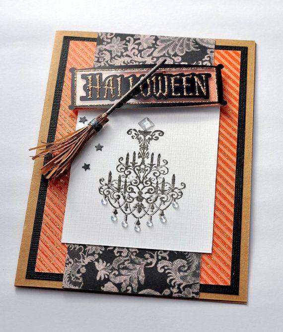 Halloween Card Halloween Chandelier Witch's Broomstick Broom Handmade Embellishment by PaperSimplicity