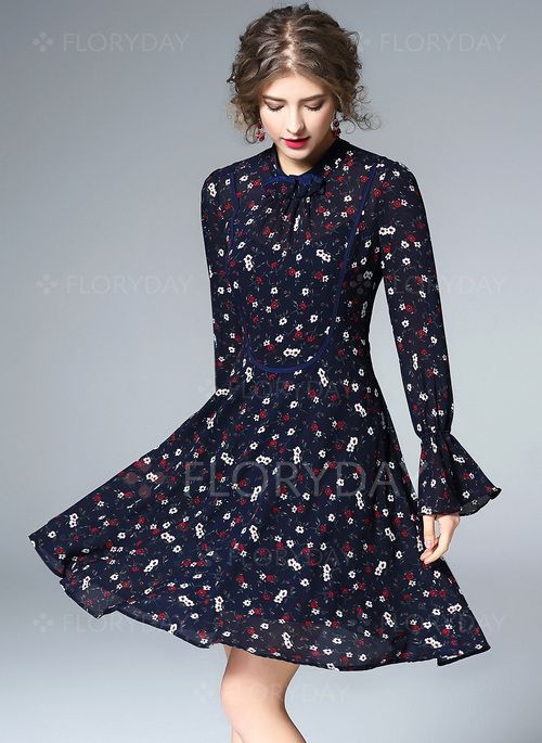 Vestidos - $73.88 - Vestidos Poliéster Floral Sobre las rodillas Manga larga (1955133264)