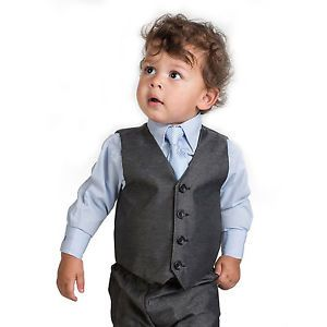 Boys Grey Waistcoat Suit, Baby Boys Charcoal Suits, Boys Wedding Suits, Page Boy | eBay