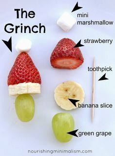 Grinch Kabobs | Nourishing Minimalism. Keeping this one for the grands to make!!