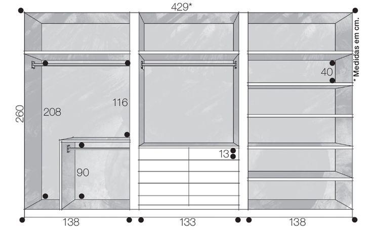 projetos de closet com medidas - Pesquisa Google
