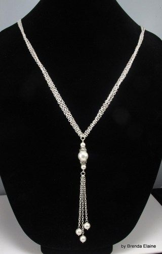 Long Necklace with White Pearl Pendant in Silver | byBrendaElaine - Jewelry on ArtFire