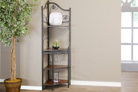 Pomona Wood and Metal Transitional Baker's Rack—Low - Furniture Decor Depot