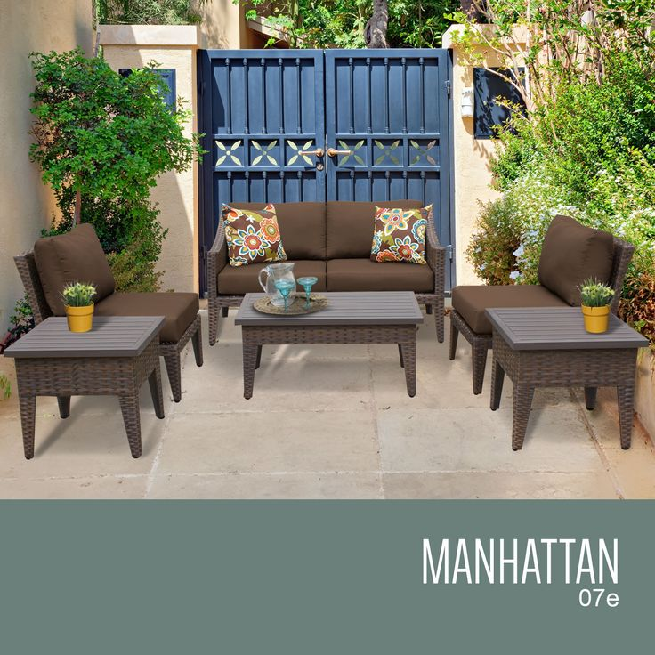"""Manhattan 7 Piece Outdoor Wicker Patio Furniture Set 07e. The contemporary design of our Manhattan Collection creates a transitional style that can blend with any décor. The rich colors of the wicker and extra details on the frame also include a thick 6"""" cushion that will surely enhance the experience of relaxation and sophistication.Features:CUSHIONS - 6 inches thick for a luxurious look and feelCUSHION COVERS - Washable and zippered for easy cleaning (air dry only)FEET LEVELERS - Height…"""