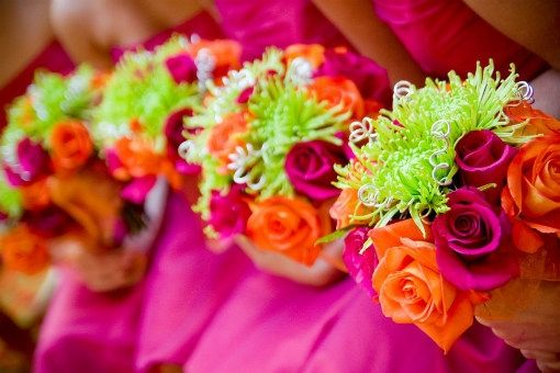 hot pink bridesmaids dress with hot pink and orange roses with green spider mum bouquets.Colors Flower, Green Orange Hot Pink Flower, Bright Pink Bridesmaid Dresses, Hot Pink Bridesmaid Dresses, Bright Wedding, Wedding Colors, Orange Rose, Wedding Flower, Bright Colors