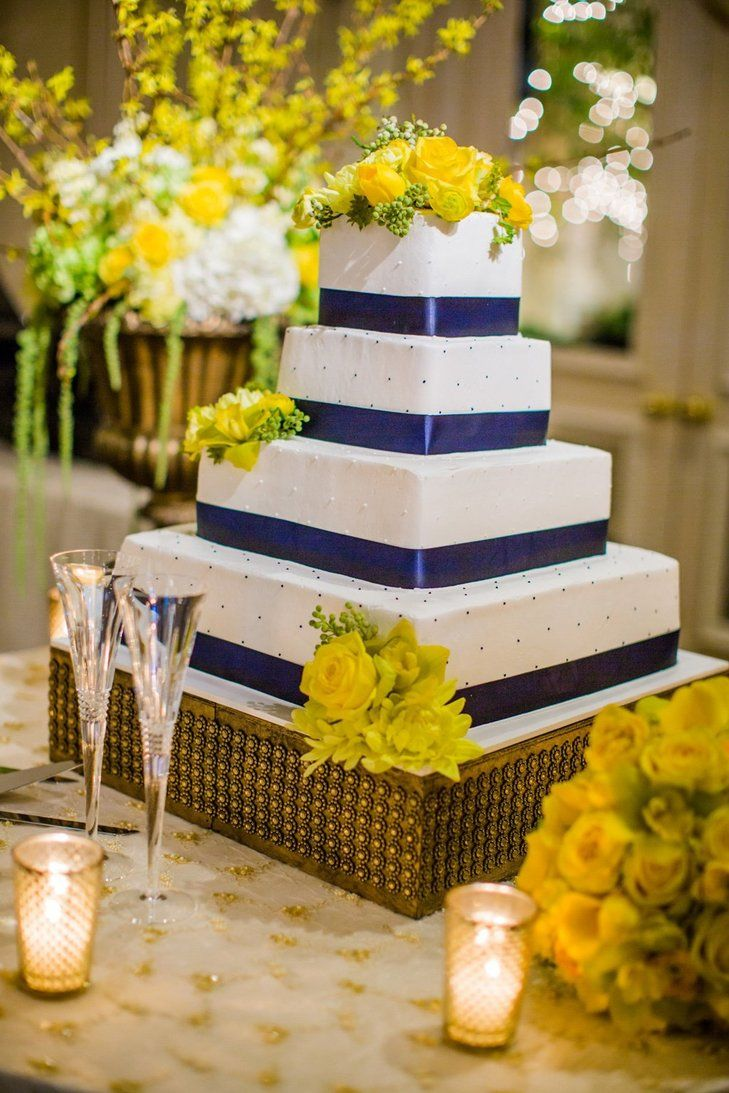 Blue and Yellow Square Cake | Beautiful Day Photography https://www.theknot.com/marketplace/beautiful-day-photography-burbank-ca-175359 | Torrance Bakery https://www.theknot.com/marketplace/torrance-bakery-torrance-ca-124798