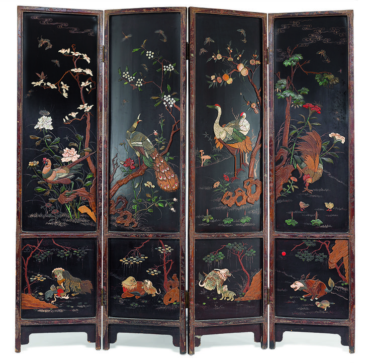 Mother Of Pearl Inlay Wooden Mini Folding Screen Asian: A Four-panel Embellished Hard Wood Screen 20th Century