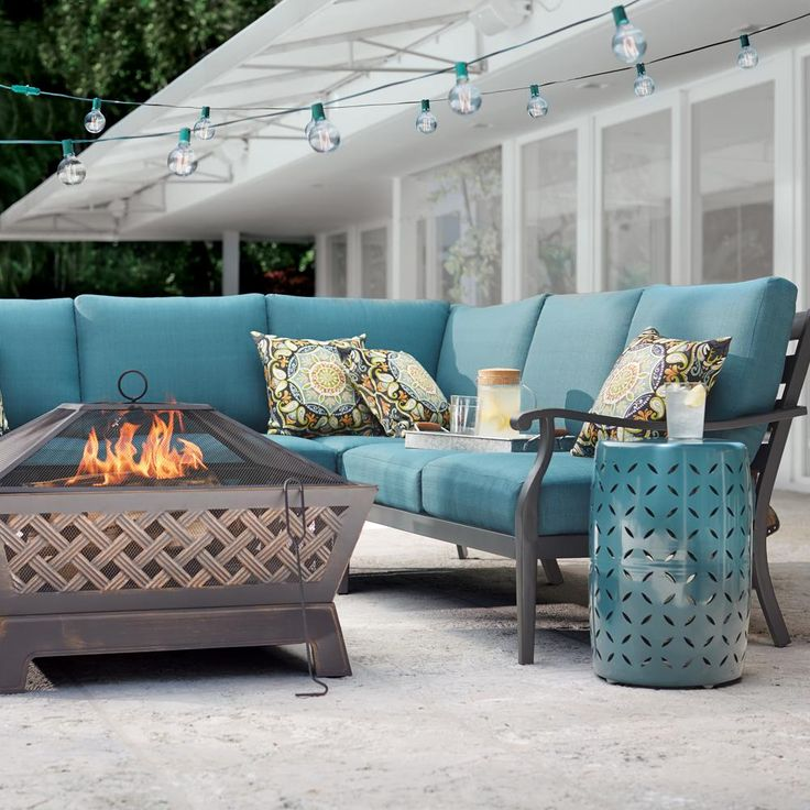 Hampton Bay Riley 3-Piece Metal Outdoor Sectional Set with ... on Riley 3 Piece Sectional Charleston id=79368