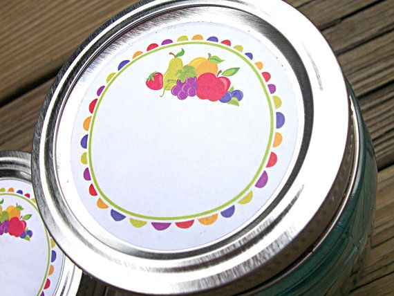 Fun Fruit Canning jar labels 2 inch round by CanningCrafts on Etsy, $4.00