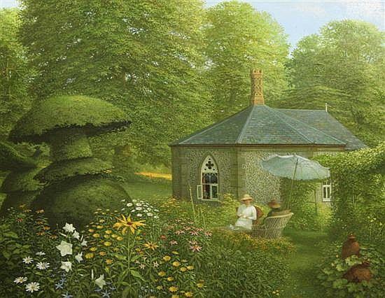 In a Surrey Garden? (1991) by John Shelley, 23.5 x 29in