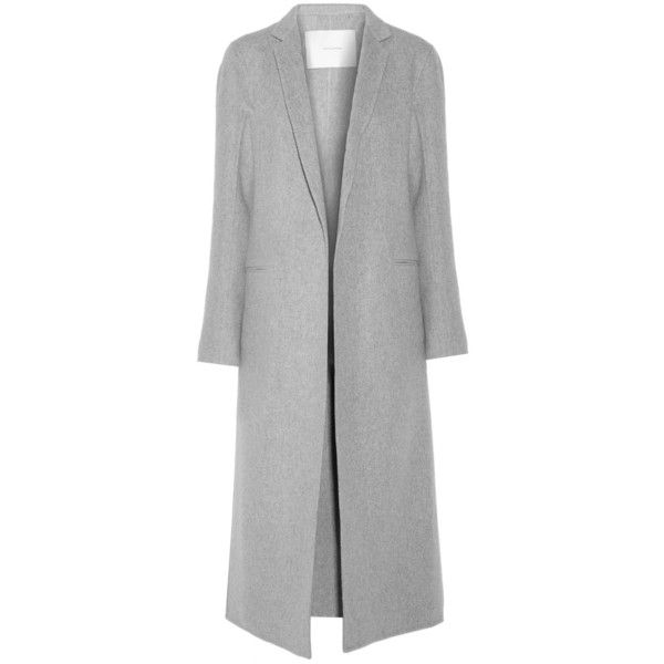 Adam Lippes Cashmere and wool-blend coat (178.750 RUB) ❤ liked on Polyvore featuring outerwear, coats, grey, long gray coat, wool blend coat, long cashmere coat, adam coates and adam