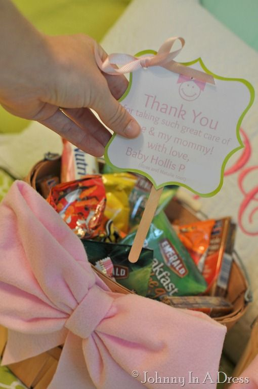 Labor & Delivery Nurse {Gift Baskets} How-To ~ Says: I thought it would be so nice to take a little something to share with the all of the nurses at Labor & Delivery and Post Partum! Nurses work LOOOONG hours and often do not get the credit they deserve, so it is important to me that they know how much we appreciate their hard work... LOVE this idea!