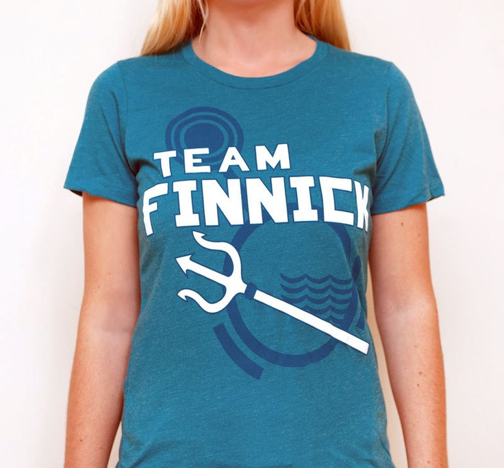 Womens Hunger Games Team Finnick Graphic T-Shirt, Teal, SIZE SMALL. $20.00