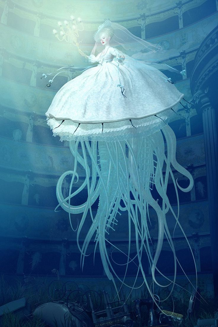Art by Ray Caesar...so beautiful! A bride with a jelly fish(?) dress in an underwater palace or dome. Inspiring! #art #blue #wedding