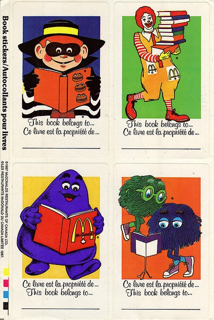 Mcdonalds canada character sticker book labels 1987