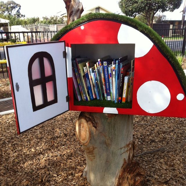 Lisa Mortimore. Flinders Park, Australia. This funky little mushroom-shaped kids Library is installed at Grant Place Reserve playground. Our 'Reading Spots' give a fun place for kids to read in an awesome playground! We did some fun community art with the kids when we launched the Library, and we put a fabulous sign up on the fence.