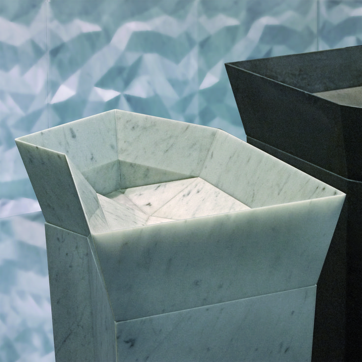 Hand carved folded stone basin. Urban Edge Ceramics