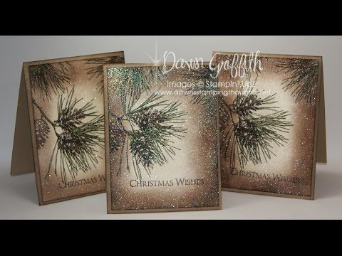 "Ornamental Pine: SU!, try peaceful wishes, Dawn""s Stamping Thoughts.: video, artichoke and expresso ink, vanilla and kraft cs, white gel on pinecones, iridescent ice embossing"