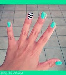 teal with black and white zigzags on the ring finger