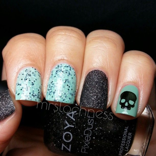 OPI Mermaids Tears with skull accent nail ➳ mrslochness