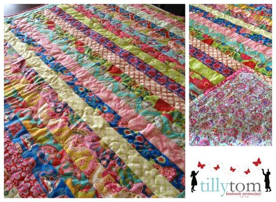 tillytom    cot / crib quilt bright stripes by tillytomdesigns, $180.00