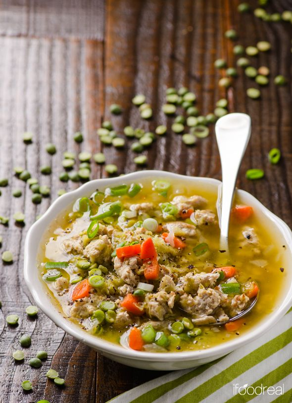 """Clean """"Turkey Bacon"""" Split Pea Soup Recipe -- Hearty green split pea soup made healthy with turkey bits and liquid smoke. A clean copycat version of your mom's Ham and Split Pea soup."""