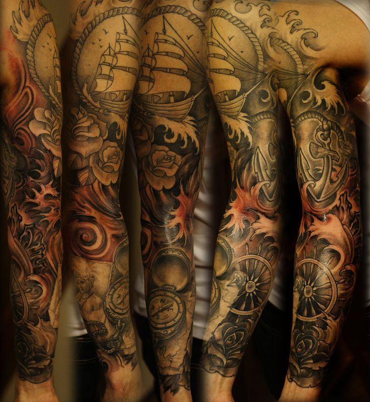 sea sleeve tattoo  almost done,one more session for contrast and tightening