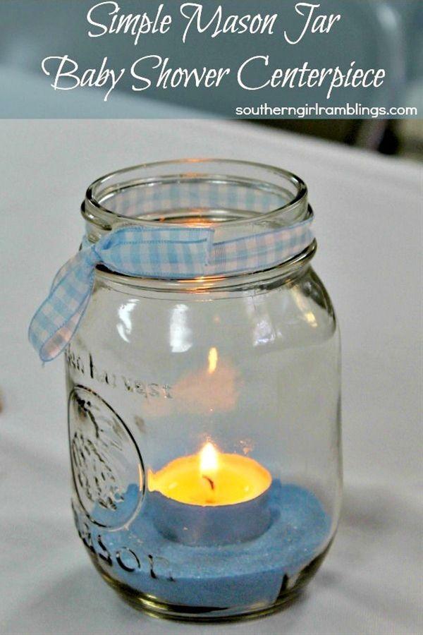 Simple Mason Jar Baby Shower Centerpiece