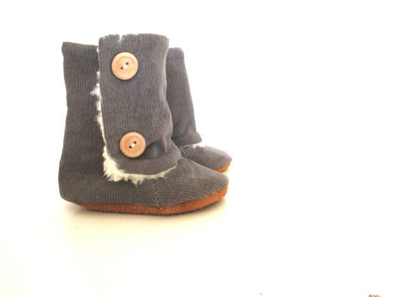 Baby Grey Corduroy Winter Boots