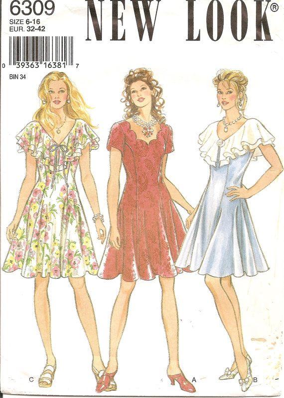 1990s Dress Robe Sewing Pattern New Look 6309 Uncut by TenderLane, $10.00