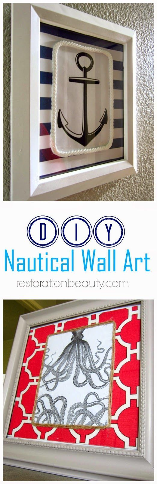 DIY Nautical Wall art that is easy and quick to make!  Restoration Beauty