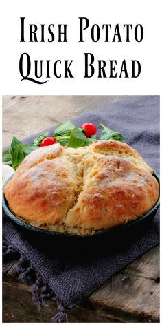 Irish Potato Bread is a delicious savory quick bread that doesn't require yeast! No yeast, no proofing or rise time! via /https/://www.pinterest.com/BunnysWarmOven/bunnys-warm-oven/