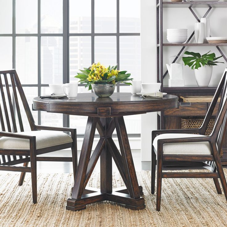 Newel Wood Round Oval Pedestal Dining