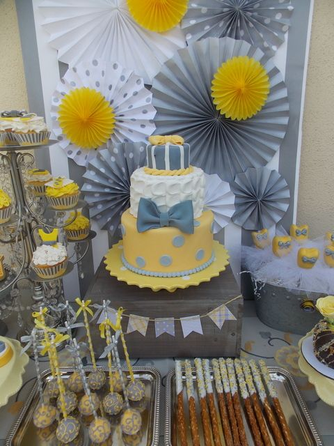 """Photo 15 of 34: Yellow & Grey / Gender Reveal """"Ties or Tutus?"""" 
